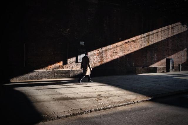 Man walking down a street